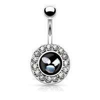 Round Crystal Paved Simulated Pearl Inlaid Center Belly Button Ring 316L 14g Navel Ring (Silver Tone)