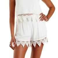 Ivory Crochet-Trim High-Waisted Shorts by Charlotte Russe