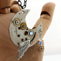 Steampunk Crescent Moon pendant- Antique watch parts with Swarovski crystals and wing charm- Steampunk jewelry gift