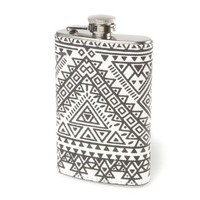 Icing Black and White Aztec Print Flask