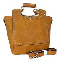 Classy Top Handle Studded Fashion Tote Purse w/ Shoulder Strap Tan