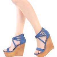 Blue Strappy Faux Wooden Platform Wedges Faux Leather