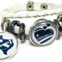 NFL Football Fan Dallas Cowboys On White Leather Bracelet W/  Heart and Texas State 18MM - 20MM Snap Charms