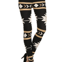 Black and Gold Tribal Print Leggings