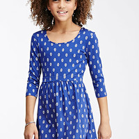 Woodblock Feather Bow-Back Dress (Kids)