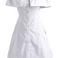 White Off Shoulder Ruffle Button Up Dress