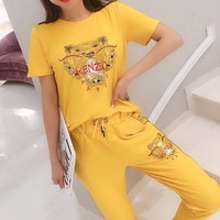 """""""KENZO"""" Woman's Leisure  Fashion Letter Tiger Embroidery Printing   Short Sleeve Trousers Two-Piece Set Casual Wear"""