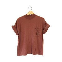 Vintage Plain Tshirt Brown Basic Boxy Tee Simple Mock Neck Shirt With Chest Pocket Rust Colored 1980s Cotton Top Womens Large