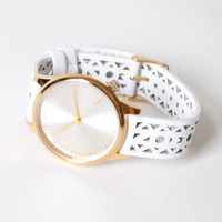 Estelle Cutout White Gold Watch