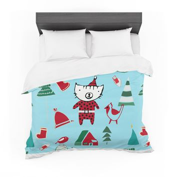 """bruxamagica """"Cute Santa Cat Blue"""" Blue Red Animals Holiday Illustration Featherweight Duvet Cover"""