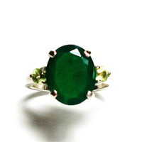 "Chalcedony, chalcedony ring, chalcedony accent ring, green 3 stone ring, anniversary ring, s 5 1/2  ""Chop Sticks"""