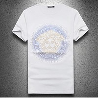 Versace Summer New Fashion Diamond Human Head Top T-Shirt Men White