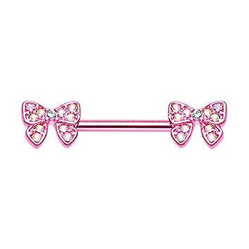 Pink Dainty Bow-Tie Sparkle WildKlass Nipple Barbell Ring