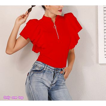 Spring and summer women's new solid color ruffled zipper stand collar slim shirt