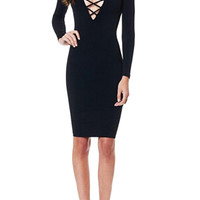 Lace-up Front Body-con Dress