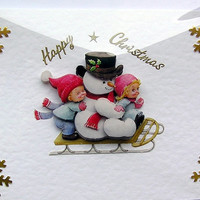 Christmas Card - Happy Christmas Hand-Crafted 3D Decoupage Card - Happy Christmas (1617)