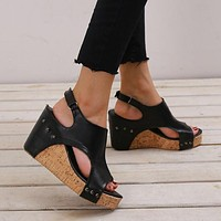 Peep Toe Platform Studded Sandals