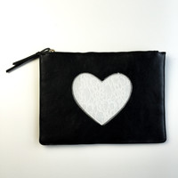 Heart In Your Hands Black Clutch With White Lace Heart