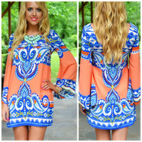 Reflection Pool Coral Bell Sleeve Shift Dress