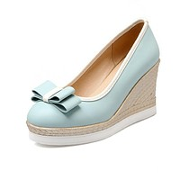 Bow Tie Platform Wedges Heels Shoes for Women 2322