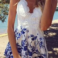 White Lace Floral Printed Romper