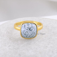 Dendritic Agate Cushion 10mm Gemstone Bezel Ring, Micron Gold Plated 925 Sterling Silver Ring Jewelry #1154