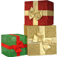 set of 3 glitter gift boxes with bow christmas decoration