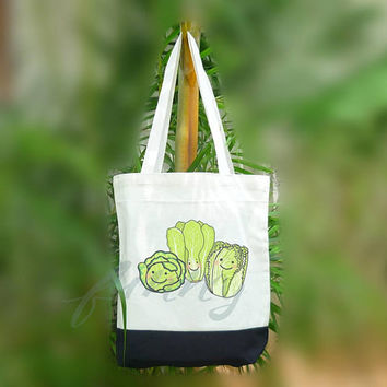 Vegetable tote bag 2 size Two tone off-white/black Beach tote bag Market bag