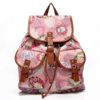 Unique Vintage Floral Printed Bookbag Backpack School Bag