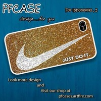 Nike just do it with luxurious glitter Case For Iphone 44s 5 by pfcase on Zibbet