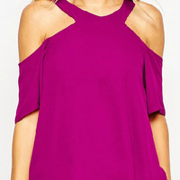 Purple V-neck Cold Shoulder Keyhole Chiffon Blouse