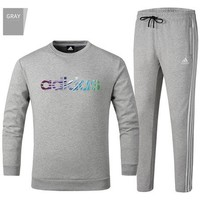 ADIDAS winter sports suit men plus velvet cotton sweater trousers set two-piece Grey