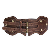 Wide Waist Belt With Double Buckles