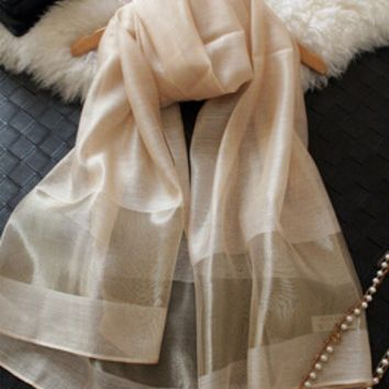 """Striped long large silk scarves green silk scarf patches gray khaki japanese fashion """"women summer scarf spring 2016 beautiful"""