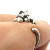 Realistic Kitty Cat Shaped Animal Wrap Around Ring in Silver | US Size 3 to Size 8.5