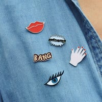 1 PCS Free Shipping Sexy Lips Eyes Badges Palm Lady Brooch Cartoon Pins Letters Metal Brooches Button on Badge
