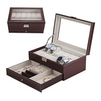 Black Brown Leather Professional Jewelry Organizer