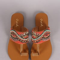Qupid Beadwork Toe Ring Flat Sandals