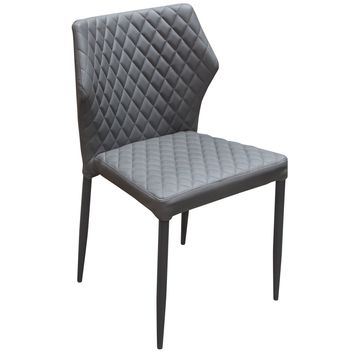 Milo 4-Pack Dining Chairs in Grey Diamond Tufted Leatherette with Black Powder Coat Legs