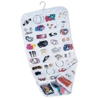Felji 80-Pocket Hanging Jewelry and Accessories Organizer  White Vinyl