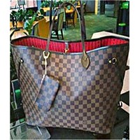 LV women's classic shopping bag handbags mother bag two-piece Coffee LV Pattern