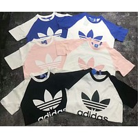 ADIDAS T-Shirt Cotton% Women Men Contrast Logo Classical Top B-AG-CLWM Six Color