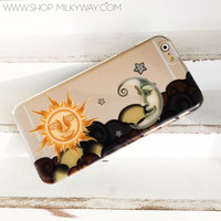 Henna Sun and Moon - Clear TPU Case Cover Phone Case