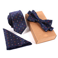 2016 Various Type Polyester Silk Neckties & Handkerchief & Bow Tie Set for Men Bowtie Wedding Set (Without Packaging Box)