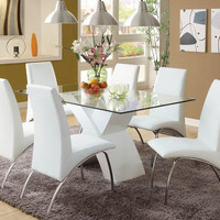 A.M.B. Furniture & Design :: Dining room furniture :: Small Dinette Sets :: Metal and Glass Sets :: 7 Pc. Wailoa Contemporary Style Glass Table Top and White Finish X-shaped Base Dining Set