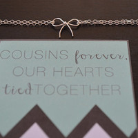 Gift for Cousin / Cousin Jewelry / Valentines Day Gift / Sterling Silver Bow Bracelet / Unique Cousin Gift / Cousin Bracelet