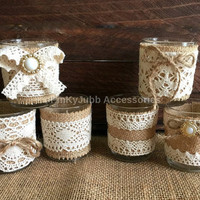 6 rustic naturlap burlap and lace covered votive tea candles, wedding favor or table decoration