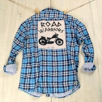 Hipster Upcycled Flannel Motorcycle Road Warriors Boyfriend Plaid Flannel Shirt