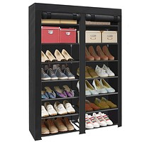 ERONE Shoe Rack Storage Organizer, 28 Pairs Portable Double Row with Nonwoven Fabric Cover Shoe Rack Cabinet for Closet (Black) Black