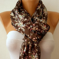Women Shawl  Scarf -  Cowl with Lace - Brown